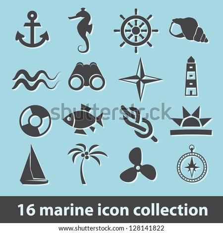 16 marine icon collection - stock vector