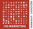 100 marketing, commerce, sales icons, signs set, vector - stock photo