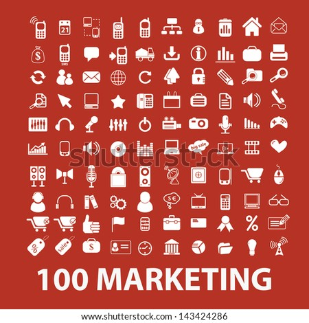 100 marketing, commerce, sales icons, signs set, vector - stock vector