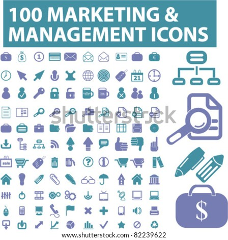 100 marketing & management icons, signs, vector illustrations - stock vector
