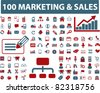 100 marketing & sales icons, signs, vector illustrations - stock vector