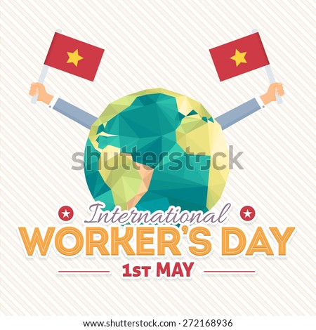 1 May International Worker's Day and Polygonal World Map Symbol Vector Illustration - stock vector
