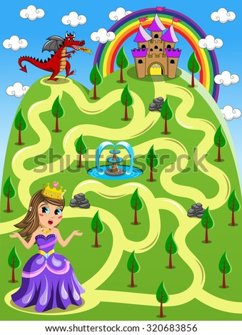 Maze Game: Kid Princess Castle and Red Dragon - stock vector