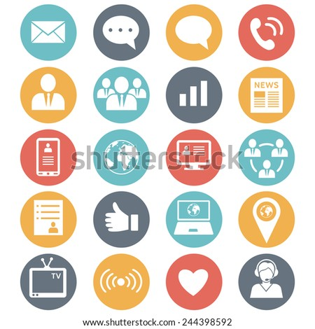 Media and communication icons. Web icons set 1. Vector  - stock vector