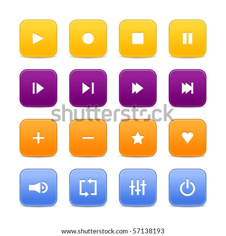 16 media audio video control web 2.0 buttons. Colored rounded square shapes with shadow on white background - stock vector
