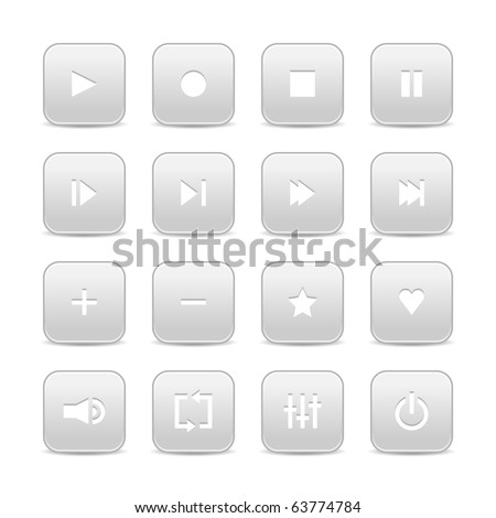 16 media audio video control web 2.0 buttons. Gray rounded square shapes with shadow on white background - stock vector