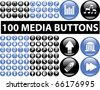 100 media blue & black buttons. vector - stock vector