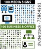 200 media & business icons, signs, vector - stock vector