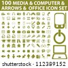 100 media, computer, arrows icons set - stock