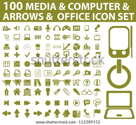 100 media, computer, arrows icons set - stock vector