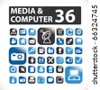 36 media & computer buttons. vector - stock vector