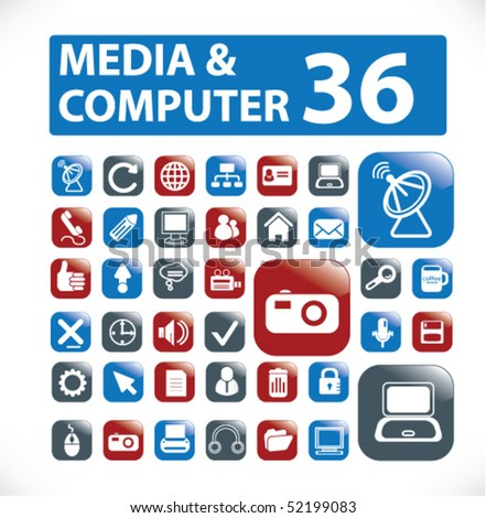 36 media & computer glossy buttons. vector