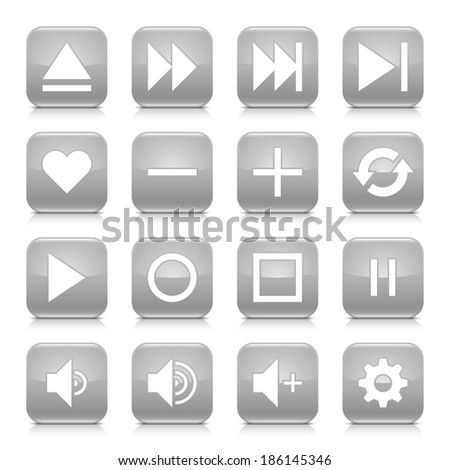 16 media control icon set 06. White sign on gray rounded square button with gray reflection, black shadow on white background. Glossy style. Vector illustration web design element in 8 eps - stock vector