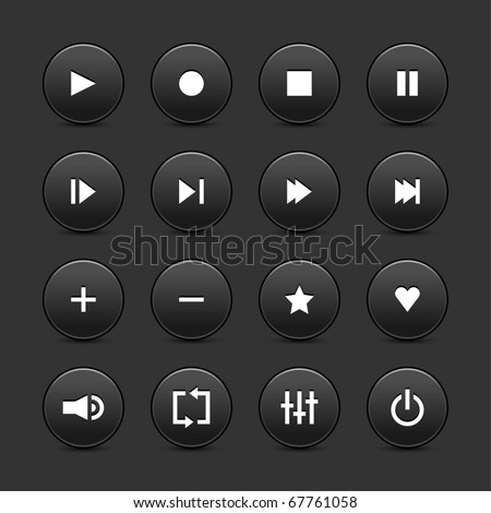 16 media control web 2.0 buttons. Black round shapes with shadow on gray background - stock vector