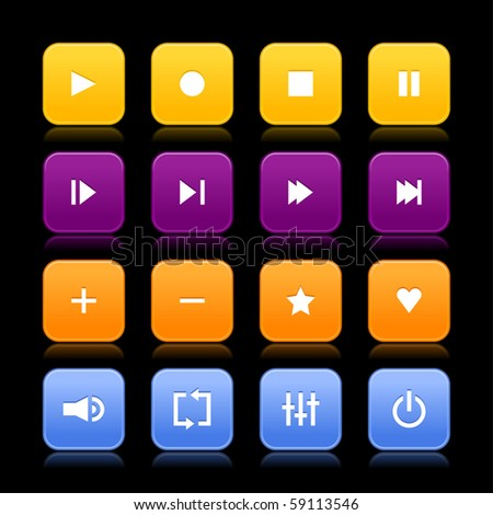 16 media control web 2.0 buttons. Colored rounded square shapes with reflection on black background