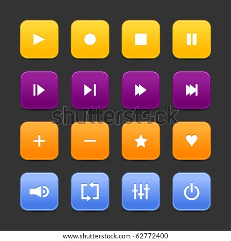 16 media control web 2.0 buttons. Colored rounded square shapes with shadow on gray background