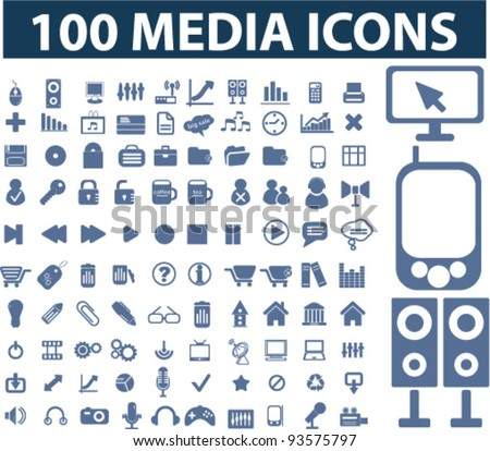 100 media icons set, vector - stock vector