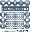 100 media office glossy buttons, vector illustration - stock photo