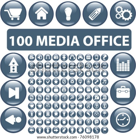100 media office glossy buttons, vector illustration - stock vector