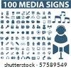 100 media signs. vector - stock vector