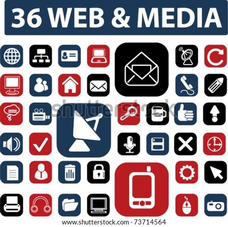 36 media & web buttons, vector - stock vector