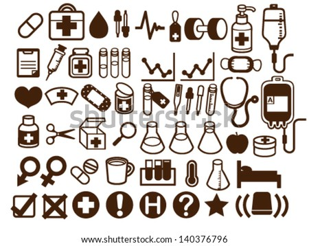 50+ Medical and Health Care Icon - Vector File EPS10 - stock vector