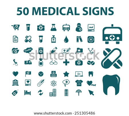 50 medical, health, care, hospital isolated design flat icons, signs, illustrations vector set on background - stock vector