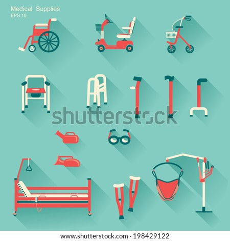 medical hospital equipment for disabled people.Vector flat design icons - stock vector