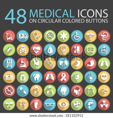 48 Medical Icons on Circular Colored Buttons. - stock vector