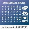 50 medical icons, signs, vector illustrations set - stock photo