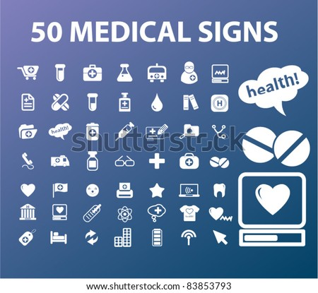 50 medical icons, signs, vector illustrations set - stock vector