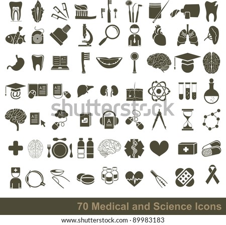 70 medical, science and anatomical icons - stock vector