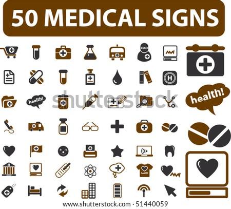 50 medical signs. vector - stock vector
