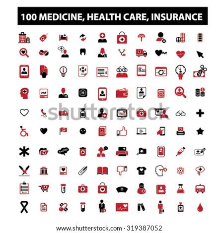 100 medicine, health care, insurance icons - stock vector