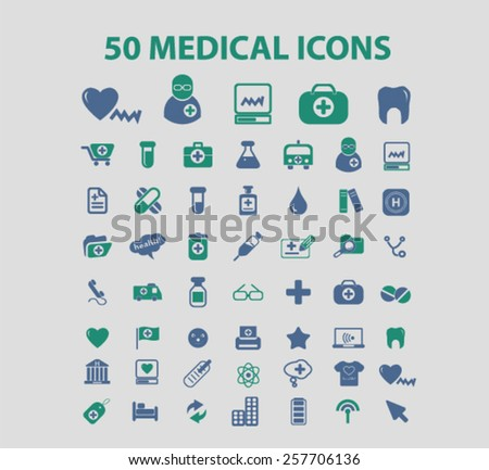 50 medicine, health, medical, healthcare isolated icons, signs, illustrations concept design set on background for mobile application, website, adverisement, vector - stock vector