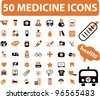 50 medicine icons set, vector - stock vector