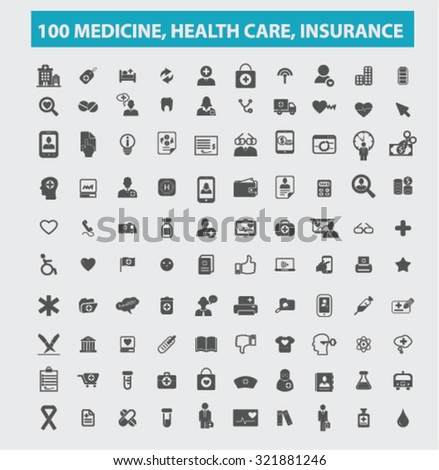 100 medicine, insurance, healthcare icons - stock vector