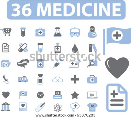 36 medicine signs. vector - stock vector