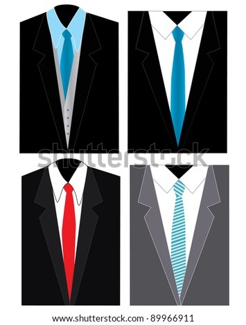 men black and grey suites with white shirt and blue and red ties - stock vector