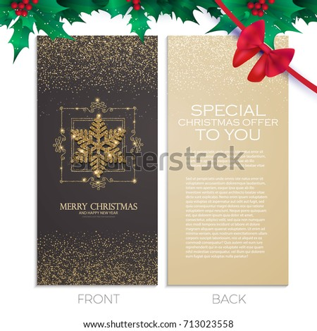 Merry christmas new year elegant offer stock vector 713023558 merry christmas and new year elegant offer cards template business cards vip greetings flashek Choice Image