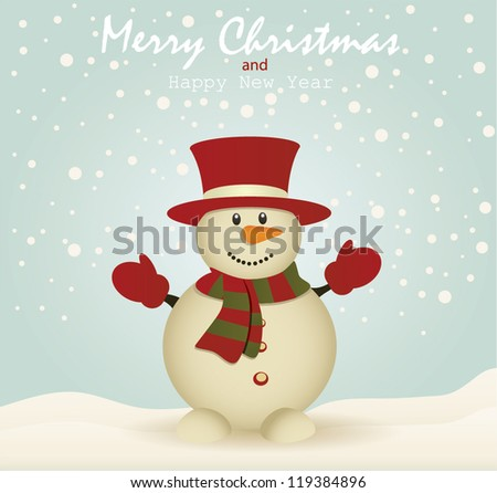 Merry Christmas card with Snowman card.Vector Illustration - stock vector