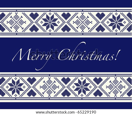 """""""Merry Christmas"""" Christmas card with Scandinavian style cross-stitch. EPS10 vector format. Fully editable for insertion of your own - stock vector"""
