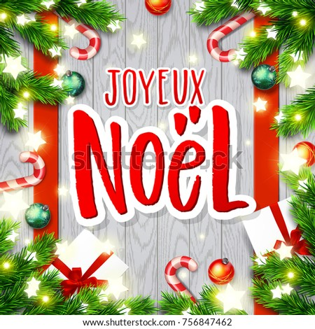 Merry christmas greeting card greetings french stock vector merry christmas greeting card with greetings in french language xmas vector background hand drawn m4hsunfo