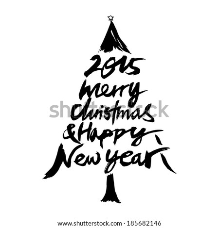2015 Merry Christmas & Happy New Year - stock vector