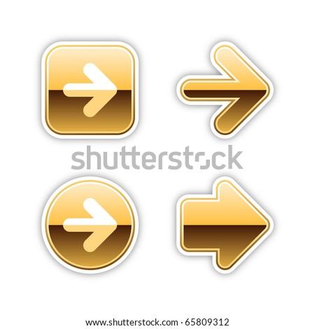 4 metal arrow sign web 2.0 stickers. Gold luxury button with shadow on white. 10 eps