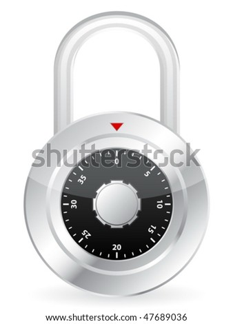 Metal code padlock isolated on a white background. Vector illustration. - stock vector