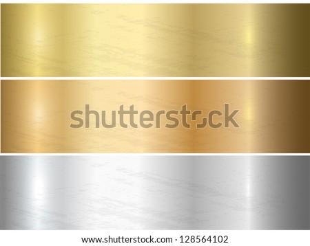 Metal texture set. Vector. - stock vector