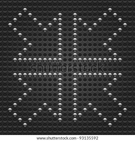 4 metallic chrome arrow signpost on seamless pattern texture. Dark gray dot punched background. This illustration saved format 10 eps
