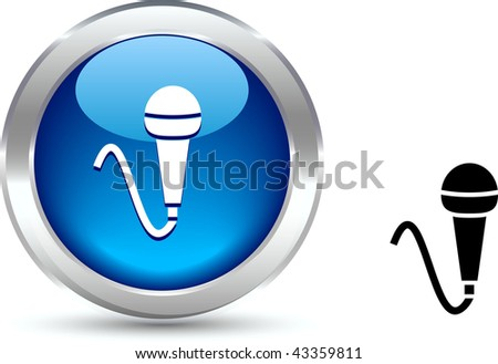 Mic  realistic button. Vector illustration. - stock vector