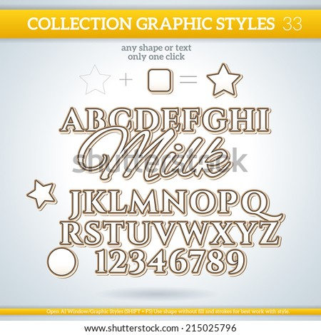 Milk Graphic Styles for Design. Graphic styles can be use for decor, text, title, cards, events, posters, icons, logo and other. - stock vector